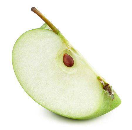 Green apples slice isolated on white Standard-Bild - 128618037