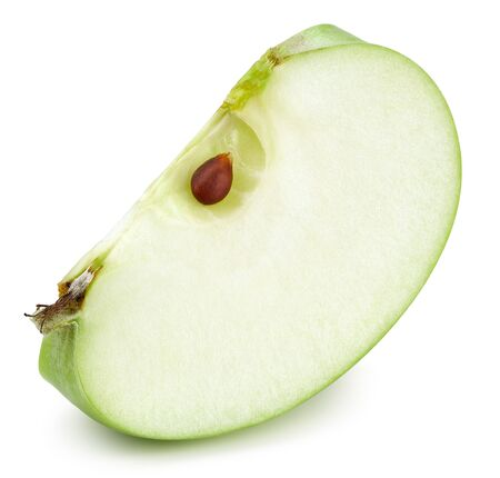 Green apple slice isolated on white Standard-Bild - 128852576