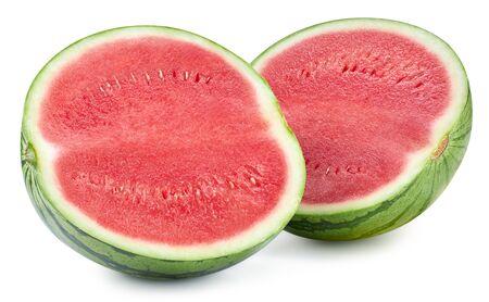 Slices of watermelon fruit isolated on white background. Standard-Bild - 129155492