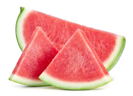 Slices of watermelon fruit isolated on white background. Standard-Bild - 129213210