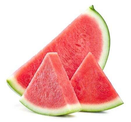 Slices of watermelon fruit isolated on white Standard-Bild - 129319107