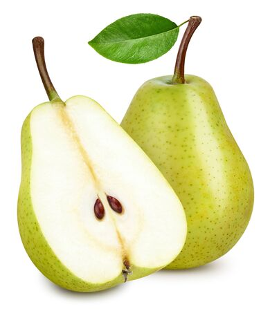 Green pear with a leaf isolated on white. Standard-Bild - 129553181