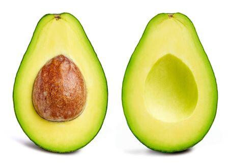 Avocado-Sammlung isoliert auf weiss. Avocado halber Beschneidungspfad. Avocado Studio Makroaufnahmen Standard-Bild