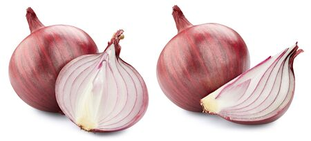 Red onions isolated. Onions collection clipping path.
