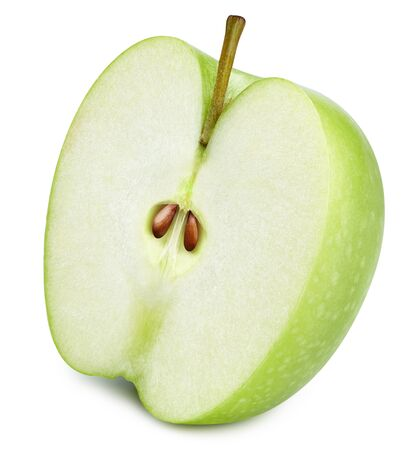 Half green apple isolated on white background. Apples clipping path 스톡 콘텐츠