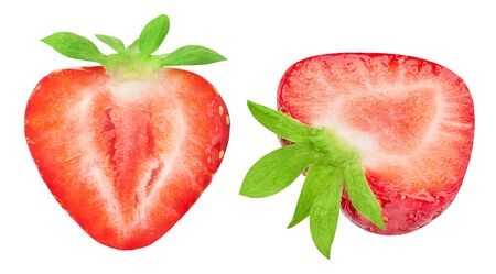 Strawberry collection isolated on white. Strawberry half Clipping Path. Strawberry berry professional studio macro shooting