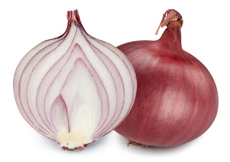 Red onions isolated. Onions clipping path. 스톡 콘텐츠