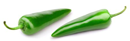 Green pepper collection isolated on white background. Pepper Clipping Path.
