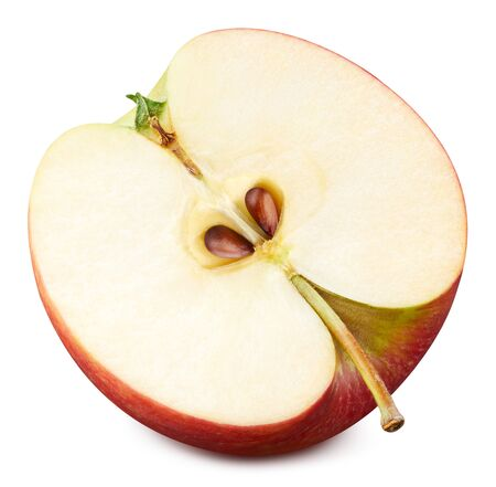 Red apple half isolated on white. Apple Clipping Path.