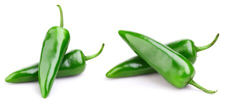 Green pepper collection isolated on white background. 스톡 콘텐츠