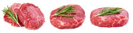 Fresh raw beef steak isolated on white background 스톡 콘텐츠