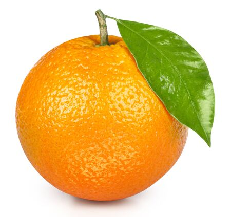 Orange isolated on white background. Orange fruit Clipping Path. Orange leaf