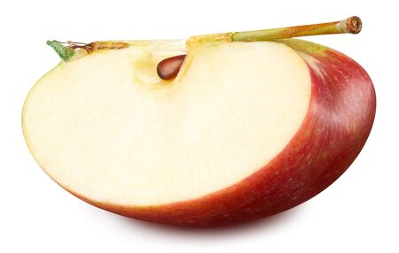 Red apple slices isolated on white. Apple Clipping Path. 스톡 콘텐츠
