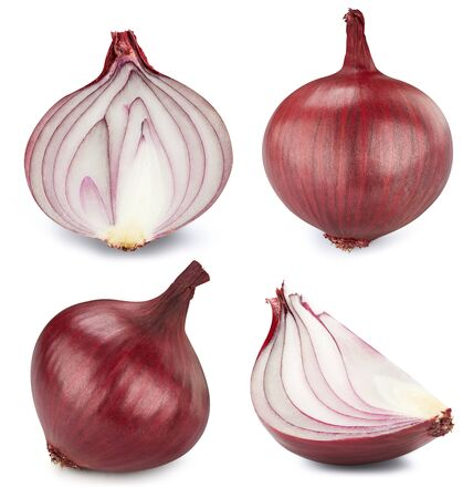 Red onion isolated on white background. Onion collection. 스톡 콘텐츠