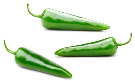 Green chili peppers isolated on white background. 스톡 콘텐츠