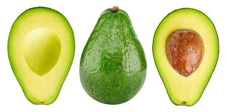 Avokado fruit. Whole and half avocado isolated on white background close-up. 스톡 콘텐츠