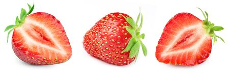 Three ripe strawberries. Strawberry collection isolated on white.