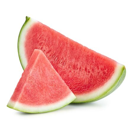 Sliced of watermelon isolated on white background. Watermelon isolated on white 스톡 콘텐츠