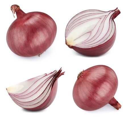 Onion collection isolated on white background.