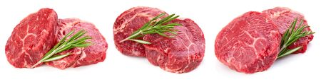 Beef steak isolated on white background. Raw beef collection isolated on white
