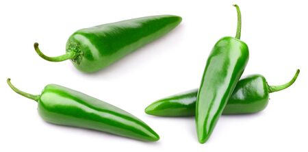 Green pepper collection isolated on white background 스톡 콘텐츠