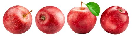Red apples collection isolated on white background