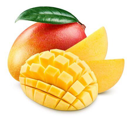 Red mango half isolated on white background. Mango clipping path. Mango fruits Banco de Imagens