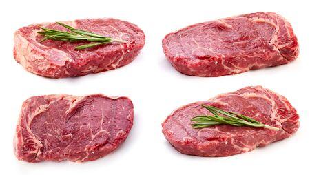 Organic steak isolated on a white background. Fresh steak. Collection steak