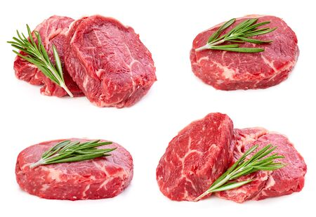 Beef steak with leaf rosemary isolated on white Stockfoto