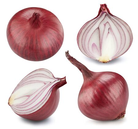 Onion collection. Onion vegetable with half isolated on white background. Onion with clipping path