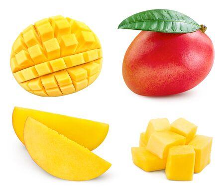 Mango collection. Mango half isolated on white background. Mango clipping path. Mango fruits . Banque d'images