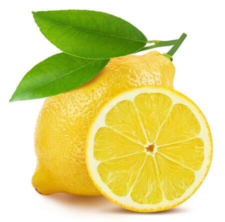 Lemon on white isolated. Fresh organic lemon.