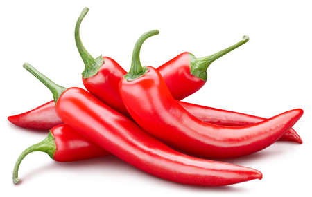 Fresh red peppers isolated on white background. Red hot natural chili pepper clipping path. Fresh organic fruit. Full depth of field Archivio Fotografico