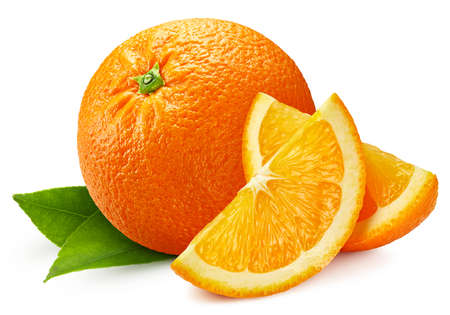Orange full macro shoot fruit healthy food ingredient on white isolated. Pile Orange.