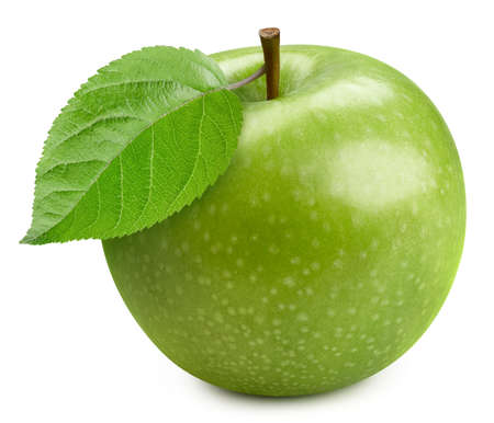 Fresh organic green apple with leaves on white background. Archivio Fotografico