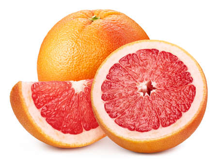 Red grapefruit half isolated on white background. Grapefruit path. Grapefruit fruits