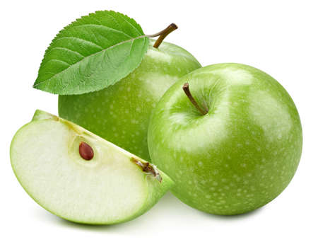 Two green apple and slice with green leaf. Organic fresh apple isolated on white. Full depth of field Standard-Bild