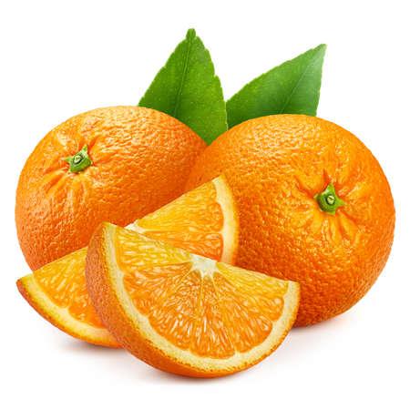 Ripe whole orange fruit green leaf and slice isolated on white background . Orange fruit set macro studio photo