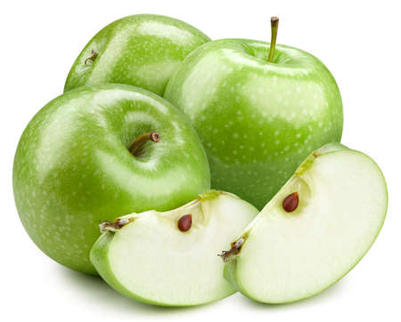 Pile of green apple. Green apple. Fresh organic apple isolated on white background.