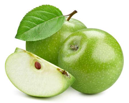 Fresh organic green apple isolated on white background.