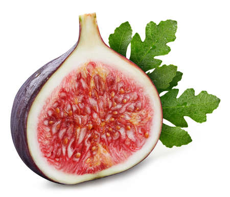 Fig Clipping Path. Ripe fig fruit with green leaf isolated on white background. Fig fruit set macro studio photo