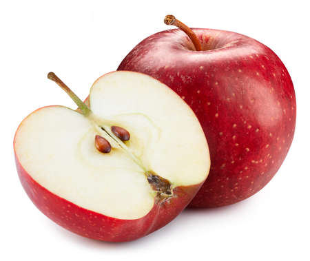 Red Apple. Apple isolated on a white background. Fresh organic vegetable. Full depth of field
