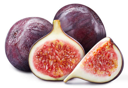 Fig. Fresh organic fig isolated on white background. Fig macro Banco de Imagens
