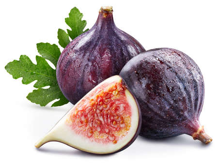 Fig fruit with leaves. Fig full macro shoot food ingredient on white isolated.
