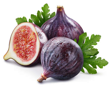 Organic fig with leaves isolated on white background. Fig. Fresh fruits isolated on white background