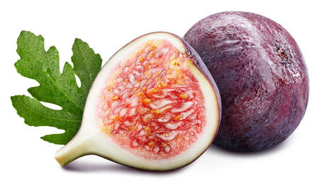 Ripe fig with green leaves isolated on white background. Fig. Fig stack full depth of field macro shot. High End Retouching