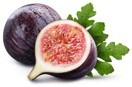 Two fresh figs. Fresh fig isolated on white background. Figs macro studio photo