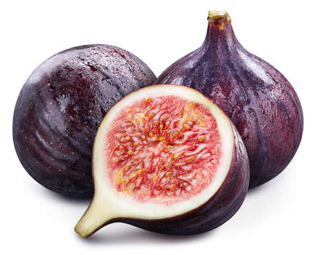 Fig. Ripe whole fig fruit and half isolated on white background. Fig fruit macro studio photo