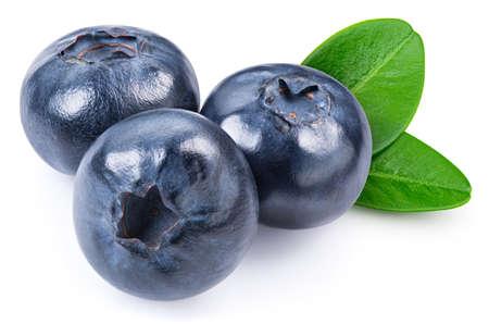 Blueberry fruit. Fresh organic blueberry with leaves isolated on white background.