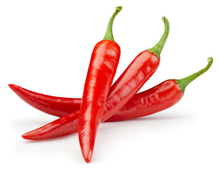 Peppers chili full macro shoot food ingredient on white isolated. Hot chili peppers with clipping path